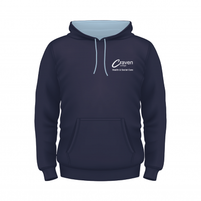 Craven College Hoodie Oxford Navy with Contrast Sky Blue Hood Front 400x400 - Health & Social Care Hoodie